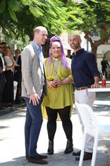 Britain's Prince William meets the 2018 Eurovision winner Netta Barzilai during a visit to Tel Aviv