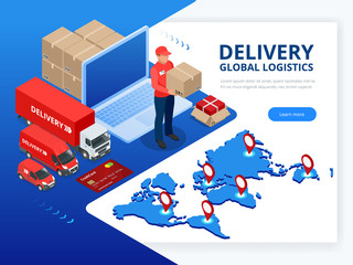 Isometric Checking delivery and ligistics service app on computer. Delivery truck with cardboard box and delivery man. Infographics. Vector web banner illustration