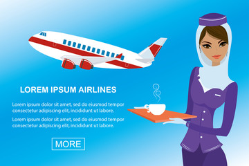 Young beautiful arabic air hostess and airplane,banner template