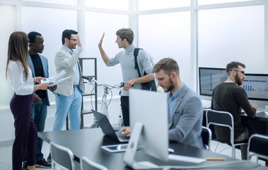 business team at workplace in office