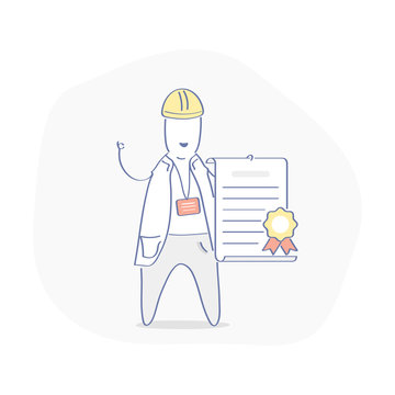 Certificate of quality, construction license icon concept. Cute cartoon character, handyman or builder with contract in his hand. He says that everything will be done perfectly