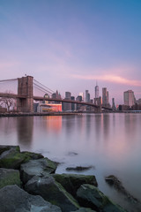 View of downtown manhattan from dumbo location during sunrise