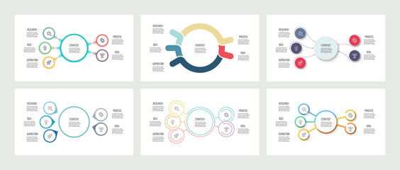 Business infographics. Organization charts with 5 options. Vector templates.