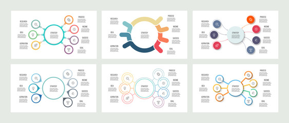 Business infographics. Organization charts with 7 options. Vector templates.