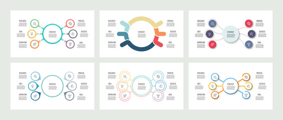Business infographics. Organization charts with 6 options. Vector templates.