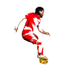 Soccer player in red jersey with ball, low poly vector illustration. European football player running with ball. Side view