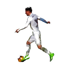 European football player in white jersey running with ball, low poly isolated vector illustration. Soccer