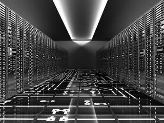 Server room in datacenter Hosting services 3d render