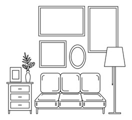 Contour image of furniture and empty frames on the wall.