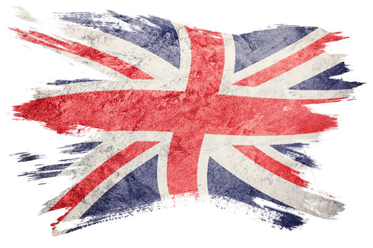 Grunge Great Britain flag. Union Jack flag with grunge texture. Brush stroke.