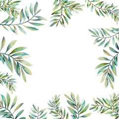 Watercolor floral frame with various green plants and waxlowers. Hand drawn natural invitation with branches, leaves isolated on white background. Wedding or greeting design in rustic style