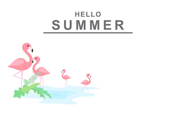 Hello summer background with pink flamingos