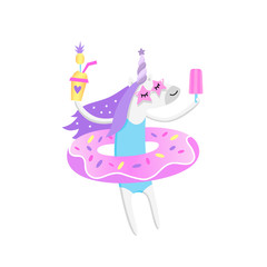 Summer unicorn with donut pool float, with ice cream and pineapple cocktail, in swimsuit and trendy glasses.