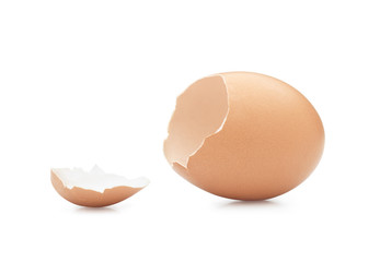 Broken egg isolated against white background. Clipping path.