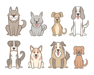 Collection of different kinds of dogs isolated on white background. Hand drawn dogs sitting in front view position. Vector illustration.