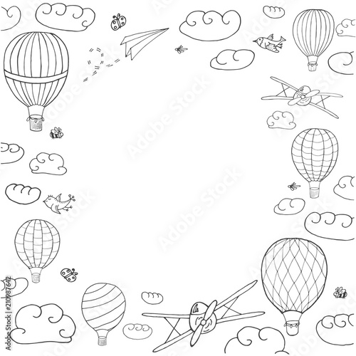 Vector illustration with hot air baloons flying in the sky