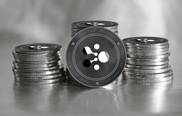 AELF (ELF) crypto currency. Stack of black and silver coins. Cyber money.