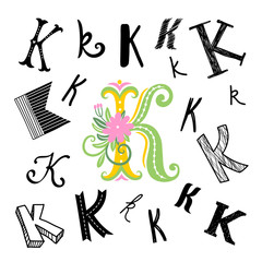 Set of letter A in different style. Freehand drawing on a white background. Can be used for scrapbook, postcards, etc.