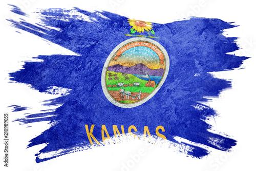 grunge kansas state flag kansas flag brush stroke stock photo and