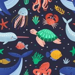 Wall Mural - Seamless pattern with cute funny marine animals or happy underwater creatures living in sea. Ocean fauna. Flat cartoon childish vector illustration for textile print, wrapping paper, wallpaper.