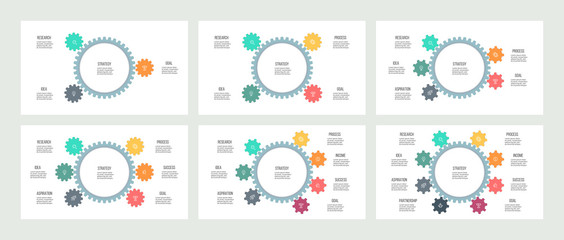 Business infographics. Organization charts with 3, 4, 5, 6, 7, 8 steps, options, gears. Vector templates.