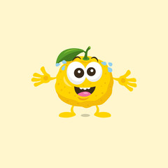 Yuzu mascot is excited to see his best friend with big smile isolated on light background. Flat design style for your mascot branding.
