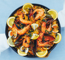spanish seafood paella, top view