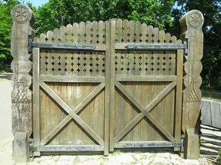 Rustic Old Wooden Gate with decorations Retro design.