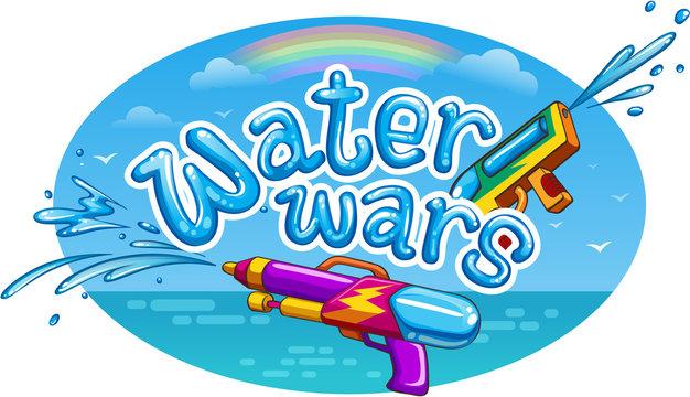 water wars summer vector illustration
