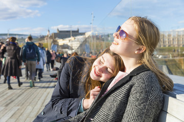 Russia, Moscow, teenage girls in the city