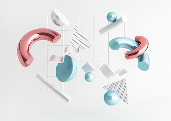 3d render realistic primitives composition. Flying shapes in motion isolated on white background. Abstract theme for trendy designs. Spheres, torus, tubes, cones in metallic blue and pink colors. Fotobehang