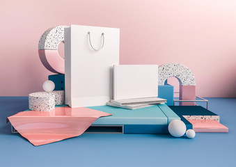 3d render business mock up interior. White paper bag and book with empty space for branding. Soft pink and blue composition of primitives. Geometric shapes in trendy design illustration.