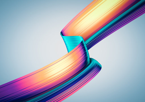 3D render abstract background. Colorful 90s style twisted shapes in motion. Iridescent digital art for print or web poster, banner, design element. Holographic foil ribbon with ribbed texture.