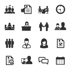 job interview, monochrome icons set. choice of employee, simple symbols collection