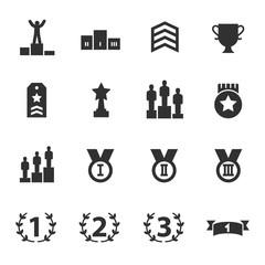Ranking and achievement, monochrome icons set.