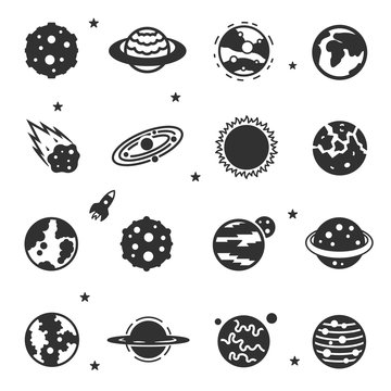 Astronomical, space bodies monochrome icons set. Stars, planets, galaxy, asteroid and more, simple symbols collection.