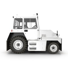 Aircraft Towing Tractor on white. Side view. 3D illustration