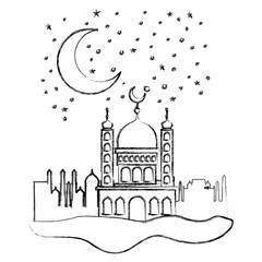 arabic castle with moon in the night scene vector illustration design