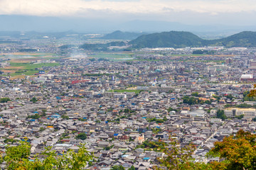 八幡山から見た近江八幡市街の町並み