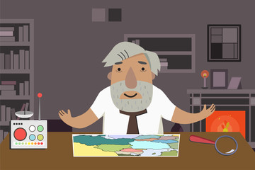 Professor-historian in the office. Animated character.