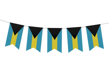 Bahamas national flag festive bunting against a plain white background. 3D Rendering