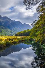 Lake in Fiordland national park, New Zealand