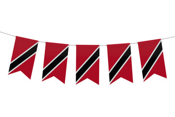 Trinidad national flag festive bunting against a plain white background. 3D Rendering