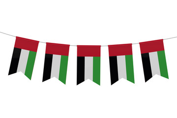 United Arab Emirates national flag festive bunting against a plain white background. 3D Rendering