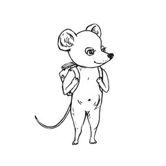 Mouse with school bag on shoulders, hand drawn doodle, sketch, vector outline illustration