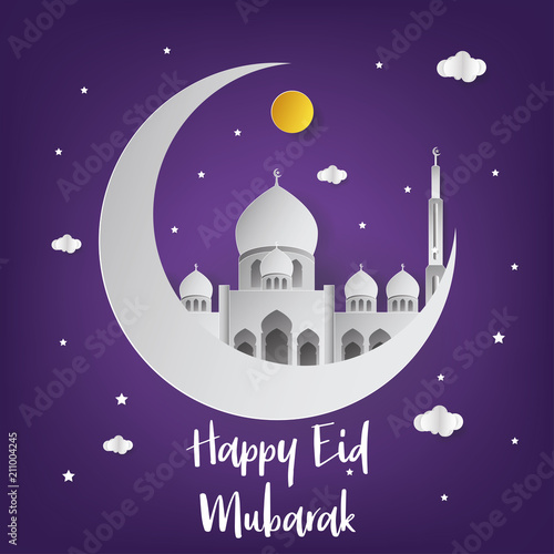Happy eid mubarak background with half moon and mosque vector happy eid mubarak background with half moon and mosque vector illustration happy eid mubarak greeting m4hsunfo