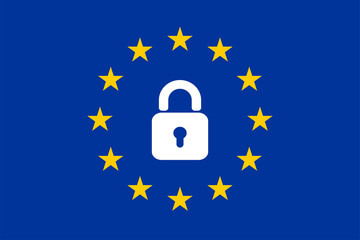 The flag of the EU with a padlock icon.