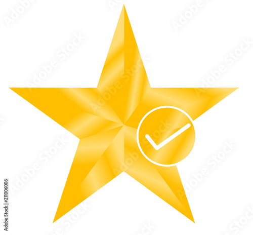 star favorite sign web icon with check mark  star favorite icon on