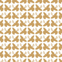 Gold vintage peace dove seamless pattern