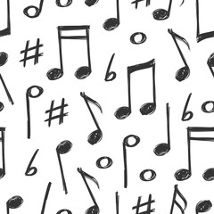 Hand drawn music notes seamless pattern design
